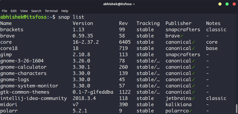 List installed packages with snap