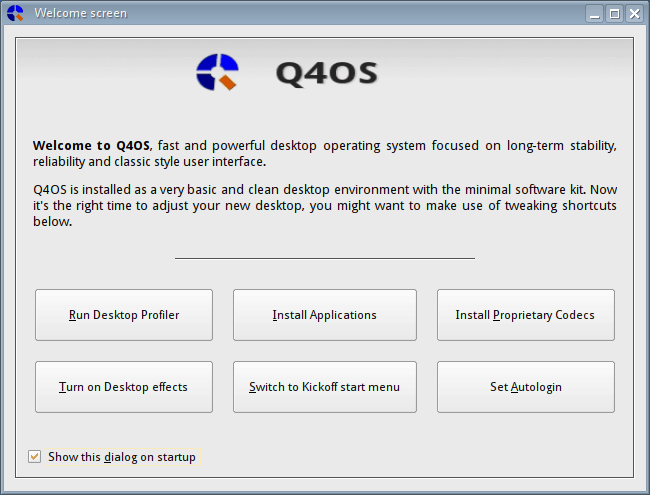 Q4OS Welcome Screen
