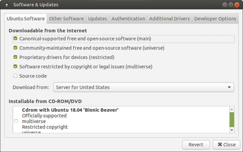 Software & Updates dialog box in Ubuntu