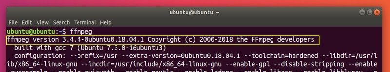 ffmpeg version in Ubuntu