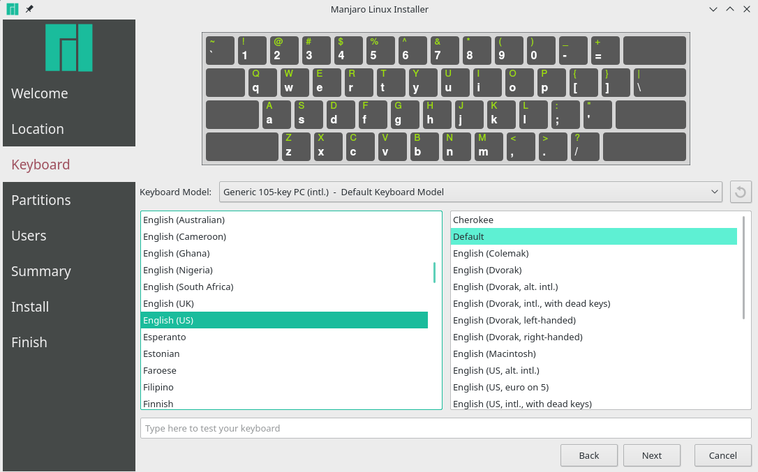 manjaro installer keyboard layout