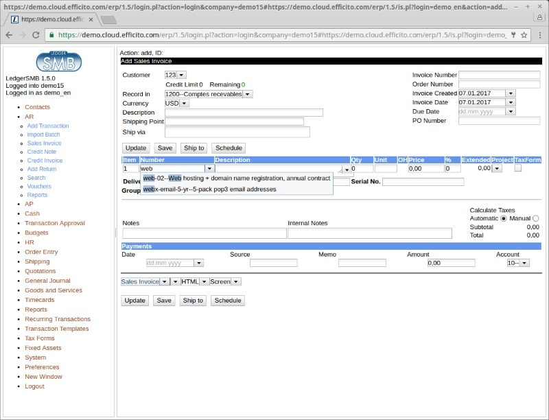 Ledgersmb Screenshot