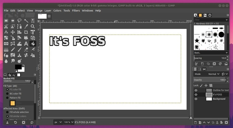 Outline added to text in GIMP