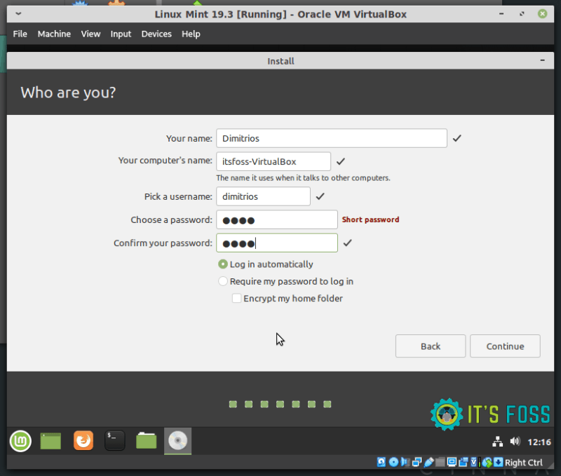 Finalize Linux Mint installation in virtual box