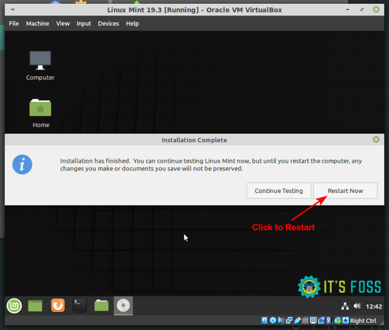 Linux Mint virtualbox installation finished