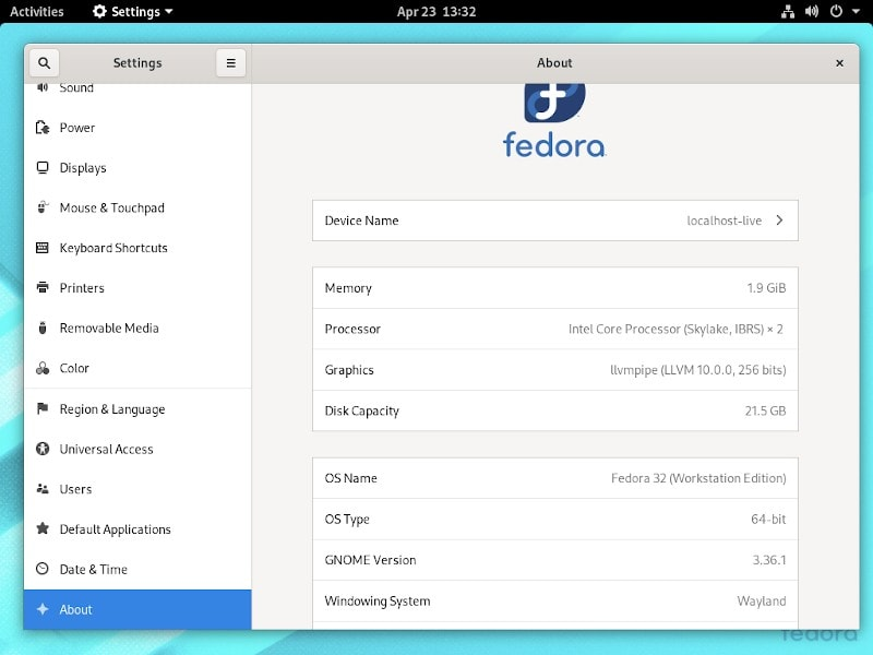 Fedora 32 Settings