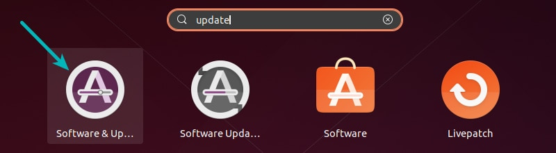 Software & Updates Settings Ubuntu in 20.04
