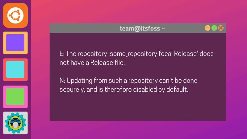Repository Does Not Have A Release File