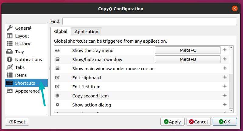 CopyQ clipboard manager Shortcuts