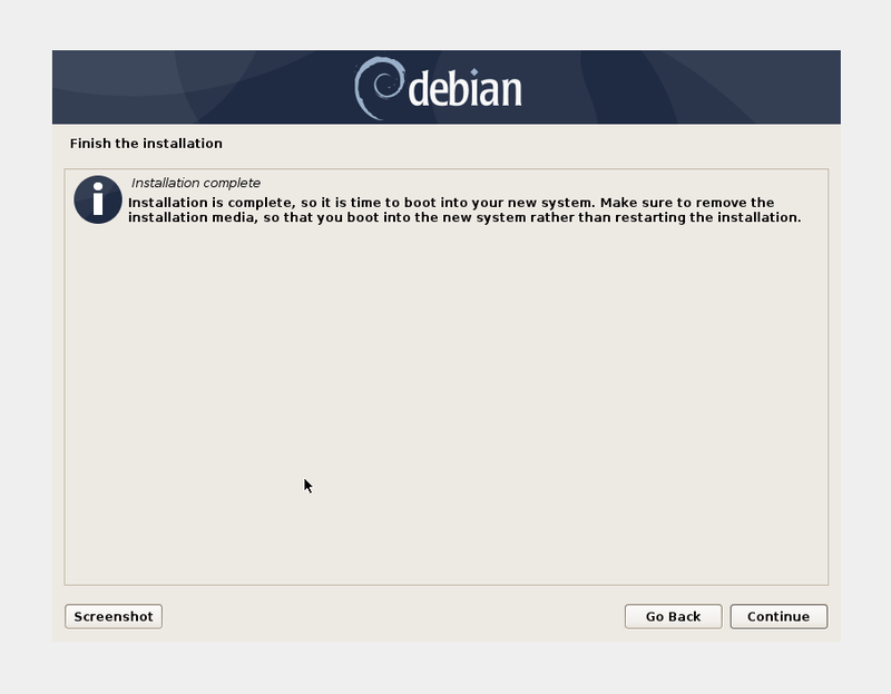 Debian Installation Finished