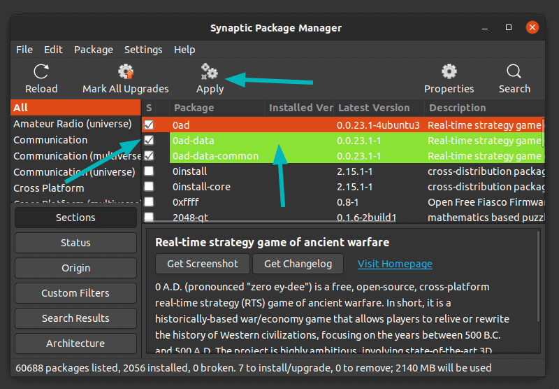 Install Packages via Synaptic