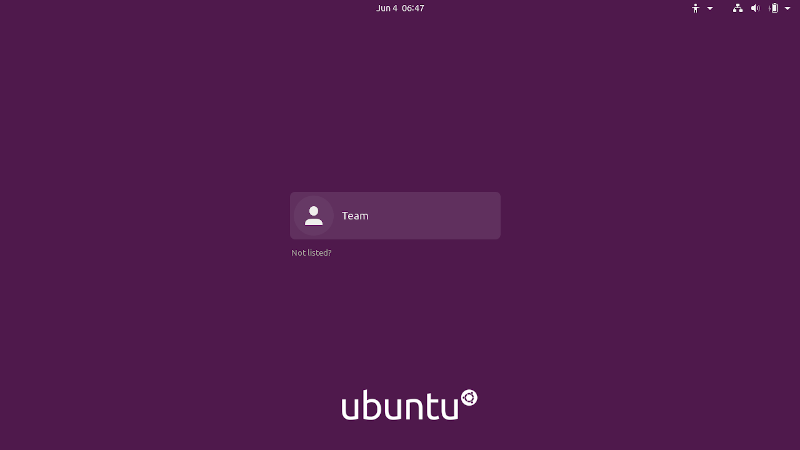Login Screen Screenshot in Ubuntu