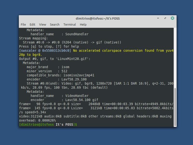 Converting video to gif using ffmpeg command line tool in Linux