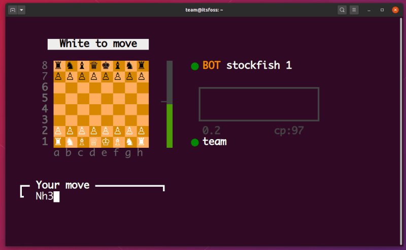 Playing chess in Linux terminal
