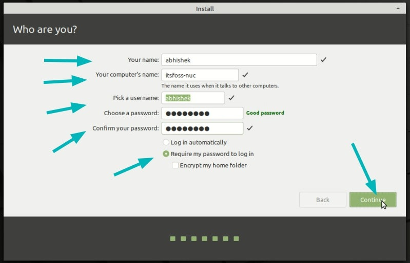 Create User While Installing Linux Mint