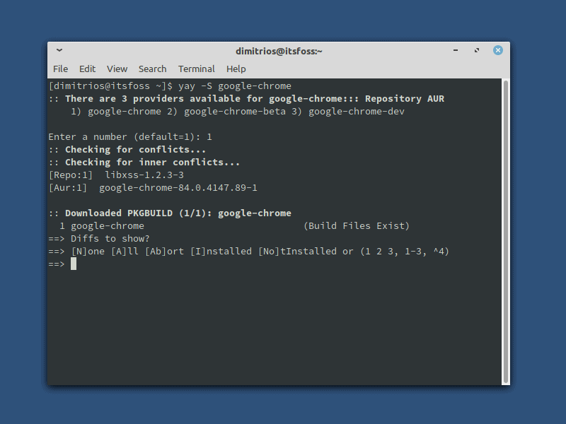Installing Google Chrome on Arch Linux using AUR helper