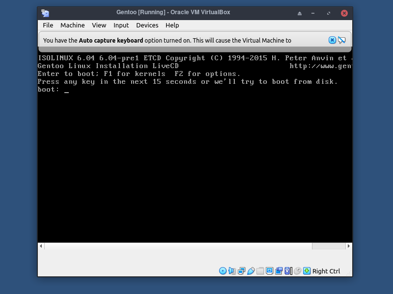 4 Virtualbox Gentoo Boot