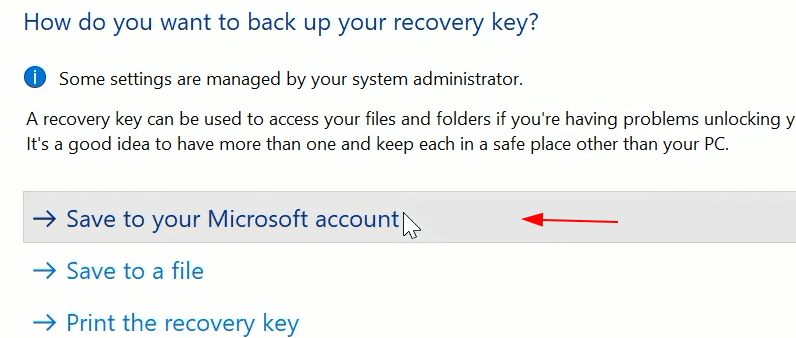 Back Up Recovery Key Again