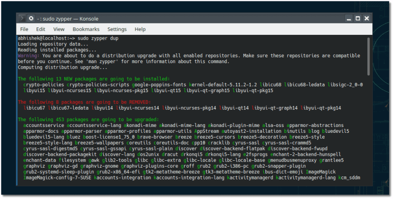 Update openSUSE with Zypper Command