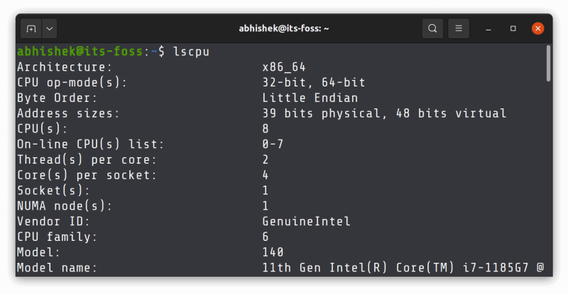 lscpu command output