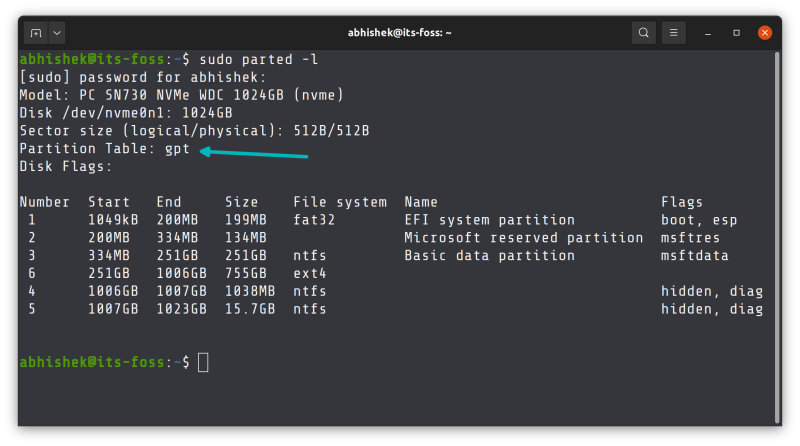 check if mbr or gpt in linux