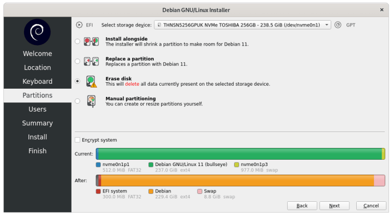 Disk partitioning while installing Debian