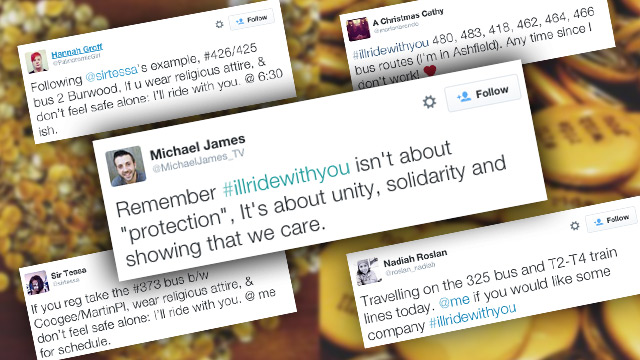 Selection of tweets generated by #illridewithyou.
