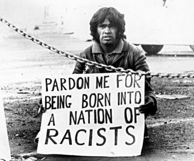 Gumbainggir man, Dr Gary Foley protesting against South African rugby tour in Australia, 1971.
