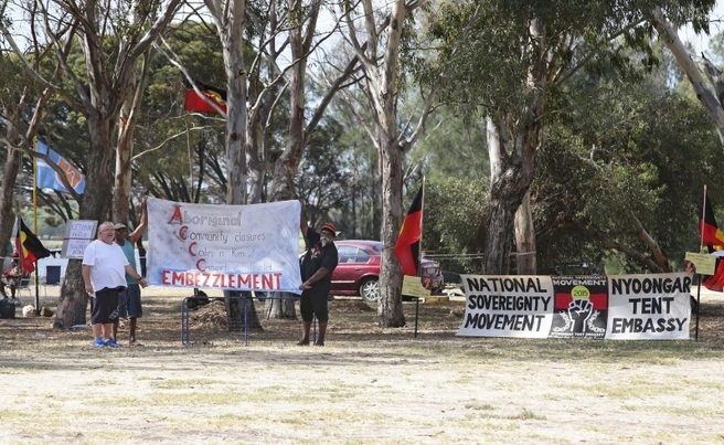 Aboriginal activists demonstrate on Heirisson Island against planned closures of North West Aboriginal communities. Picture: Bill Hatto / The West Australian
