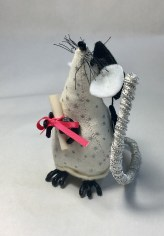 Graduation - Small white and silver mouse with diploma and mortar board