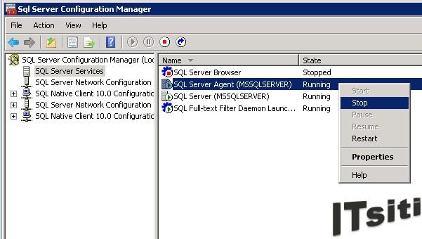 Start Stop Restart Pause  Resume SQL Server Agent