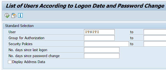 RSUSR200: List of Users According to Logon Date and Password Change