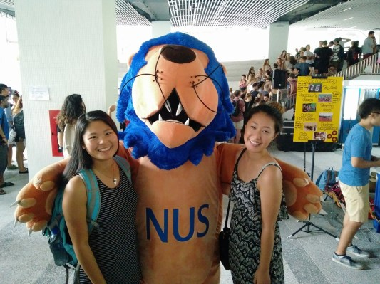 Helena and I with the NUS mascot. Poor thing must be so hot in the costume though :(