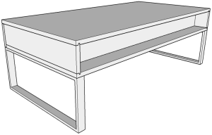 Back view of our walnut coffee table design in Sketchup.