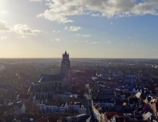 Panoramic view over Bruges from the Belfry Tower