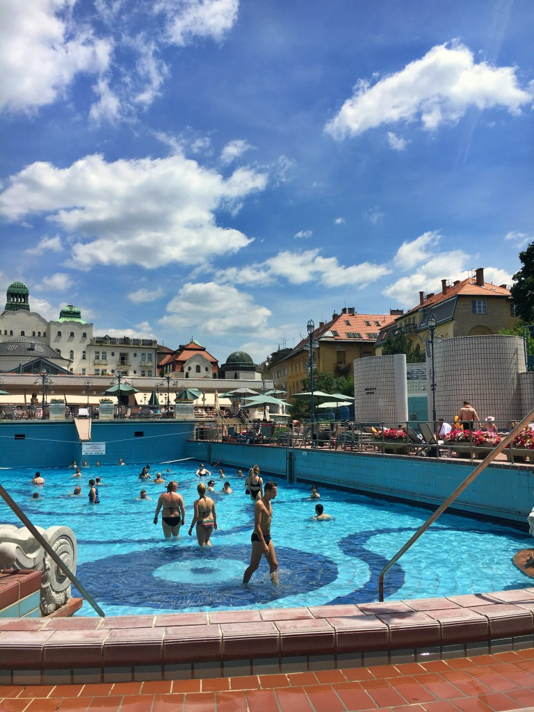 Outdoor wave pool at Gellert Thermal Baths, Budapest