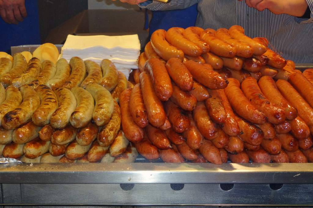 Stacks of Bratwurst and Bockwurst