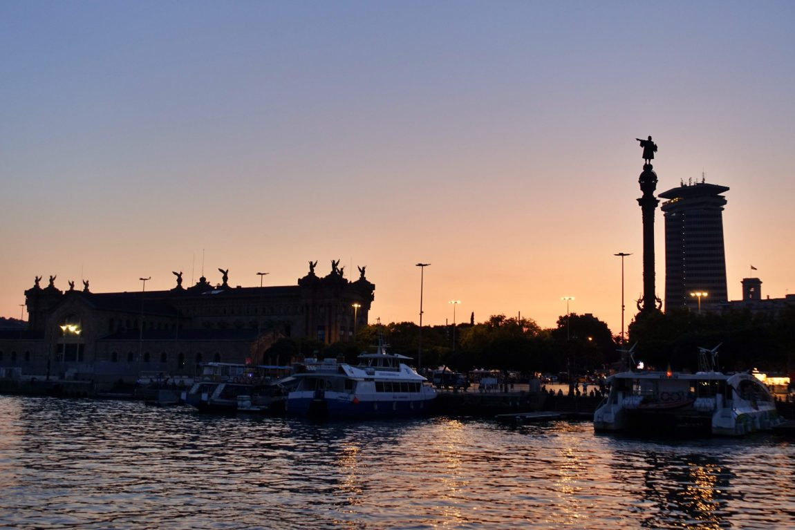 Sunset in Barcelona Harbour