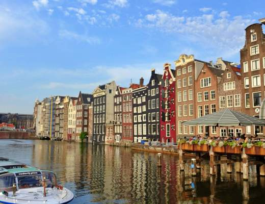 Amsterdam canal and buildings
