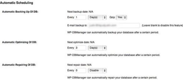 WP-Database backup settings
