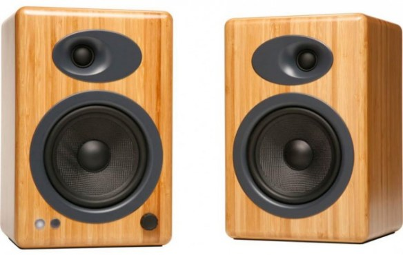 Audioengine 5+ speaker system in bamboo