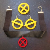 Jubilee Cosplay jewelry set, earring, necklace, brooch x symbol x-men costume (2)