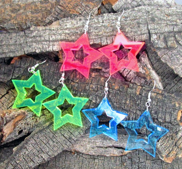 collection of 80s 90s neon star shape dangle earrings