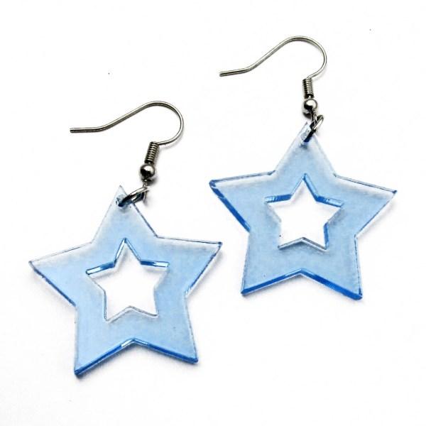 blue neon star earrings for raves