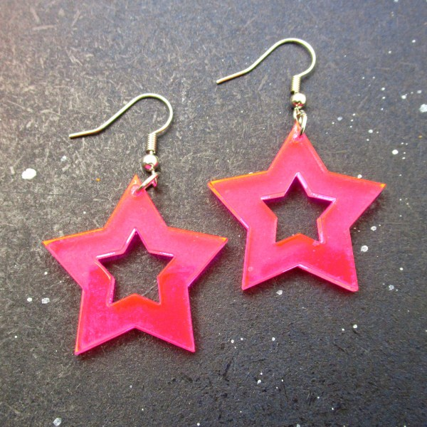pink acrylic star dangle statement earrings