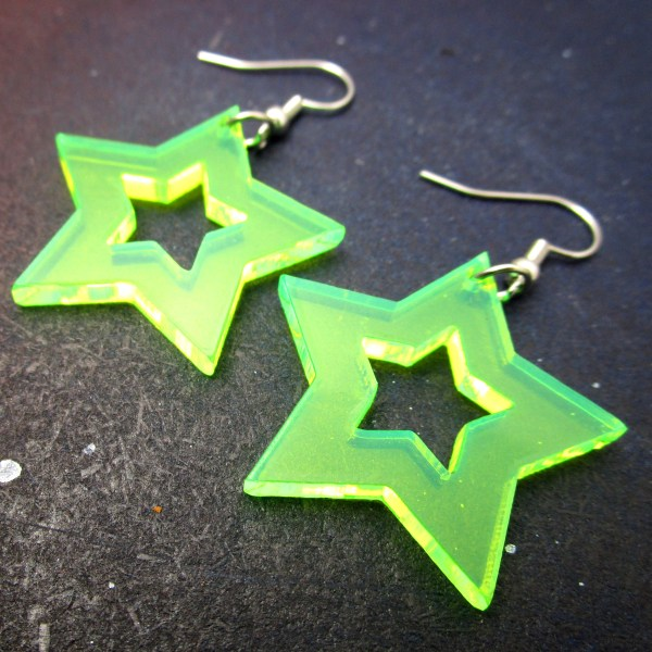 green neon acrylic star dangle statement earrings