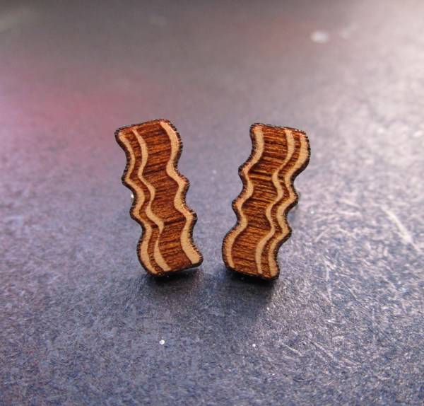 laser cut and etched Delicious Wooden Bacon Stud Earrings