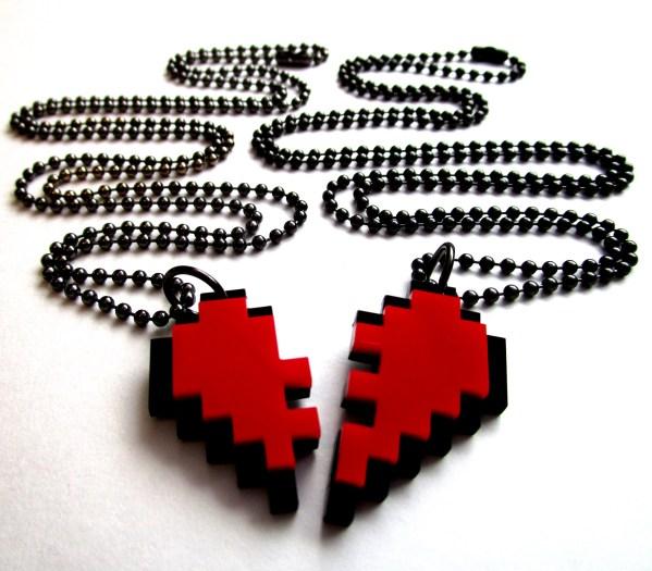 broken pixel heart bff necklace pair of necklaces