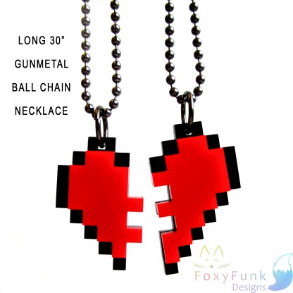 """pixel heart friends necklace in 2 parts puzzle pieces fit together with lext long 30"""" gunmetal ball chain necklace"""