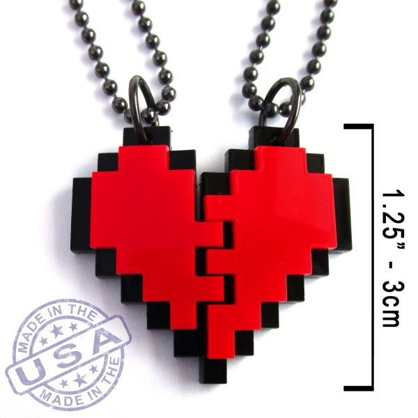 close up of red and black pixel heart bff necklace pair set with measurements and made in usa seal